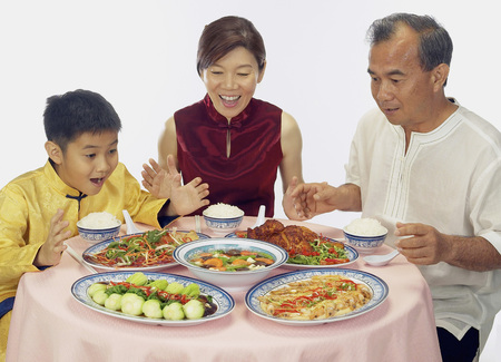 Chinese family having dinner