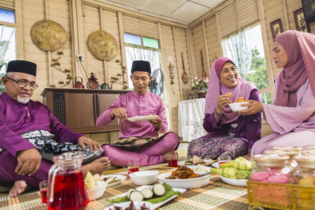 Muslim family feasting during the Eid celebration