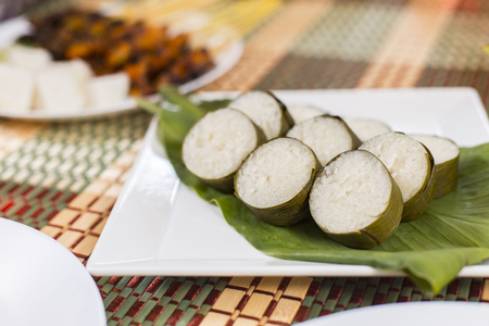 Lemang on a plate Stock Photo