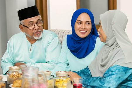Muslim family chatting during Eid al-Fitr
