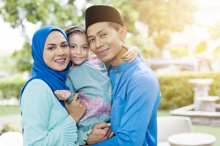 Feliz, familia musulmana