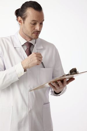 australian ethnicity: Scientist reading something on the clipboard Stock Photo