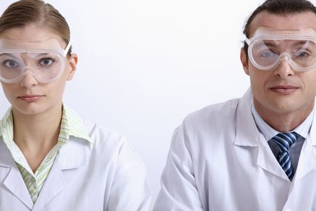 Scientists with protective goggles photo