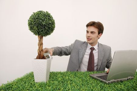 Man pouring water into potted plant photo