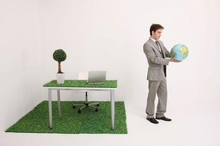 french ethnicity: Man holding globe