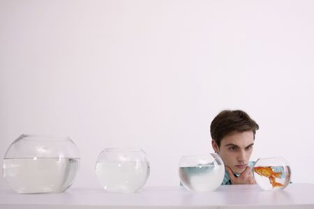 french ethnicity: Man looking at goldfishes in fish bowl