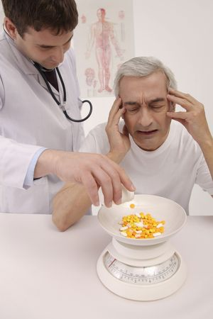 bulgarian ethnicity: Man having headache, doctor pouring pills onto weight scale