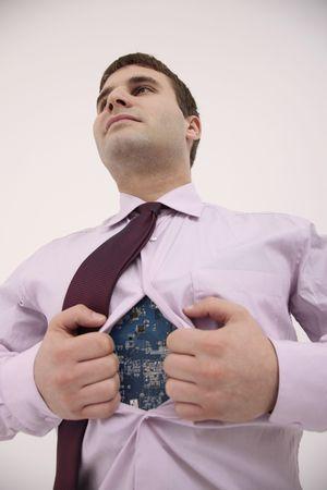 bulgarian ethnicity: Businessman opening his shirt revealing a circuit board inside