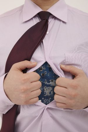Businessman opening his shirt revealing a circuit board inside Stock Photo - 6581111