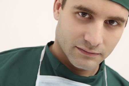 surgical gown: Surgeon in surgical gown