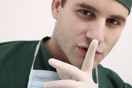 bulgarian ethnicity: Surgeon with finger on lips