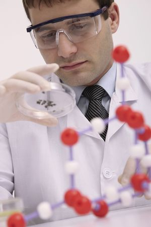 bulgarian ethnicity: Scientist examining specimen on petri dish