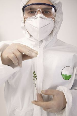 bulgarian ethnicity: Scientist with plant in test tube