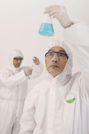 bulgarian ethnicity: Scientists doing scientific experiment Stock Photo