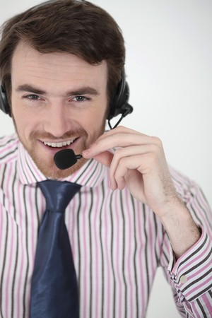 Man with headset Stock Photo - 6974378