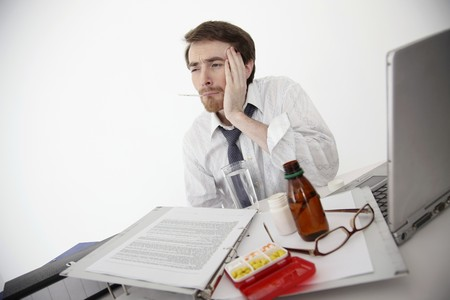 Man taking his temperature photo