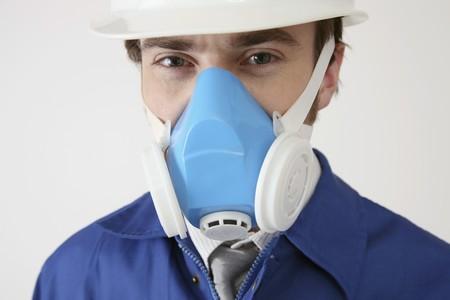 Man wearing gas mask photo