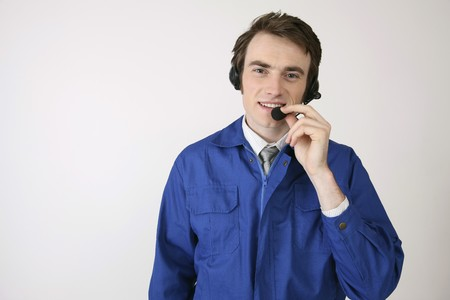 Man with telephone headset Stock Photo - 6990635