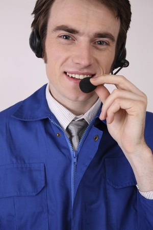 Man with telephone headset Stock Photo - 6990733
