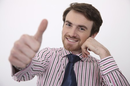Man showing thumbs up photo