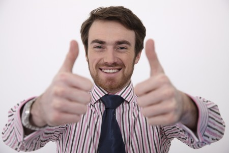 Man showing double thumbs up photo