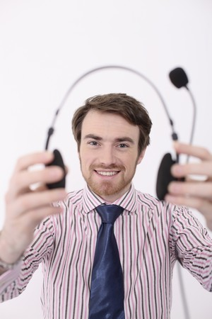 Man holding headset Stock Photo - 6990906