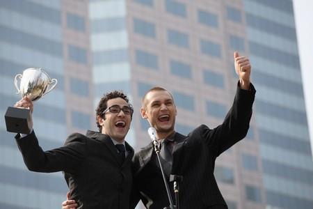 jubilating: Businessmen celebrating their success Stock Photo
