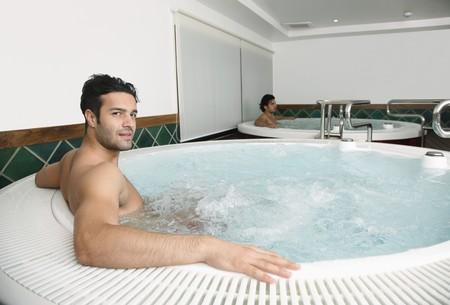 turkish ethnicity: Men relaxing in hot tub