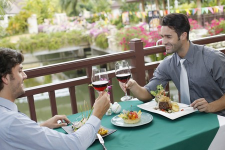 Businessmen toasting wine over lunch Stock Photo - 6974219