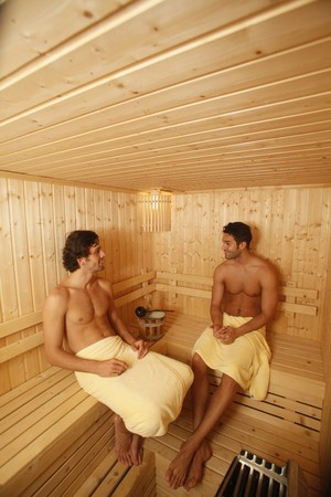 european ethnicity: Men relaxing in sauna