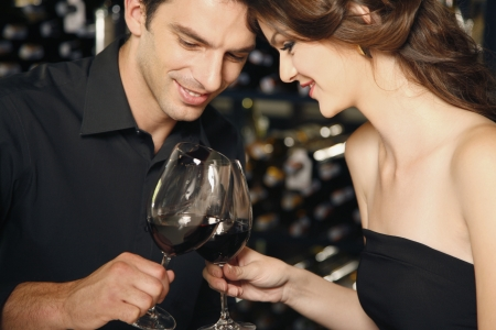 Man and woman toasting Stock Photo - 7077048