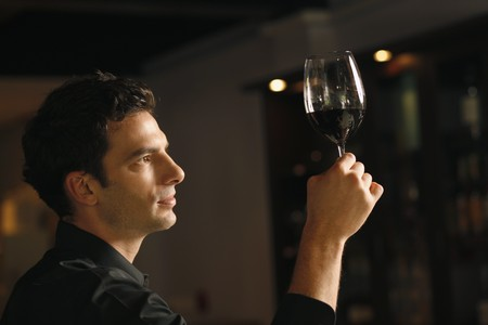 Man inspecting a glass of red wine Stock Photo - 7076984