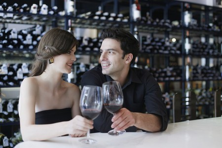Man and woman toasting Stock Photo - 7077001