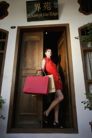 Woman with shopping bags standing at the doorway Stock Photo - 7131602