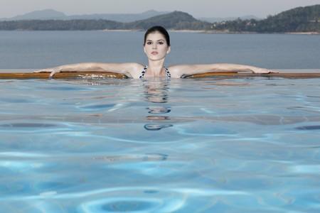 Woman in a swimming pool photo