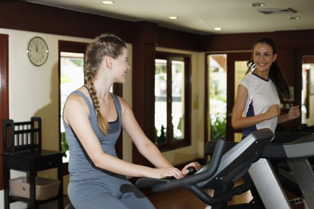 Women exercising together in gym Stock Photo - 7131676