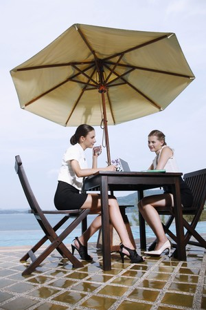 Businesswomen having discussion by the poolside photo
