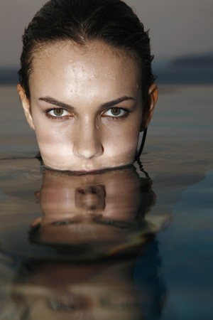 Woman in the pool, head above water Stock Photo - 7131701