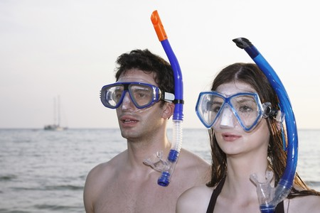Man and woman with scuba mask Stock Photo - 7356047