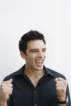 Man celebrating his success photo
