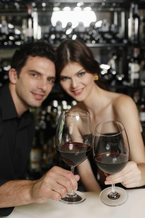Man and woman toasting Stock Photo - 7359251