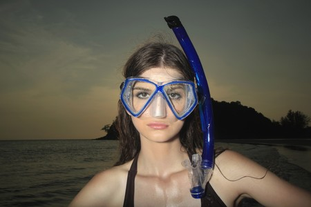 Woman with scuba mask photo