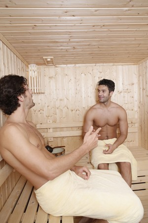 Men chatting in sauna Stock Photo - 7360997