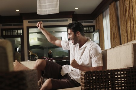 Man cheering while watching television Stock Photo - 7360831