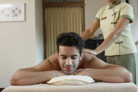 Man receiving a massage photo