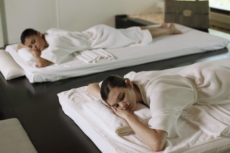 Women lying on massage table Stock Photo - 7446072