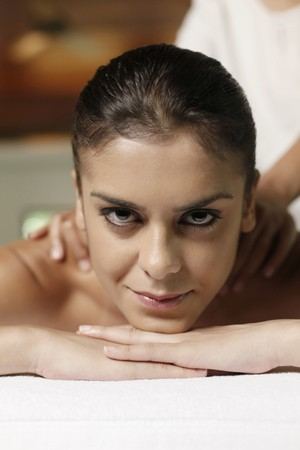 Woman receiving a back massage Stock Photo - 7446018