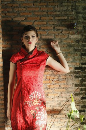 Woman in cheongsam posing Stock Photo - 7447017