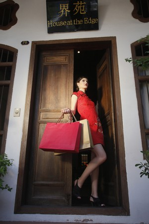 Woman with shopping bags standing at the doorway Stock Photo - 7446798