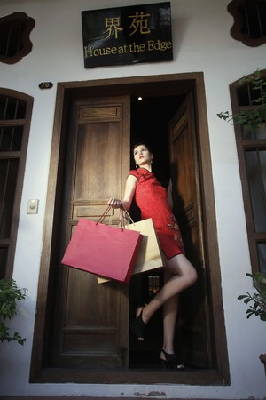 Woman with shopping bags standing at the doorway Stock Photo - 7445922